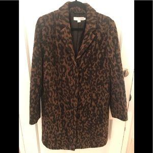 Wool felt leopard print coat, olive/khaki,black 10